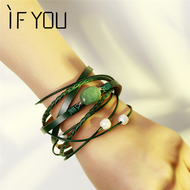 IF YOU Green Natural Stone Leather Bracelet For Woman Multilayer Big Beads Brace