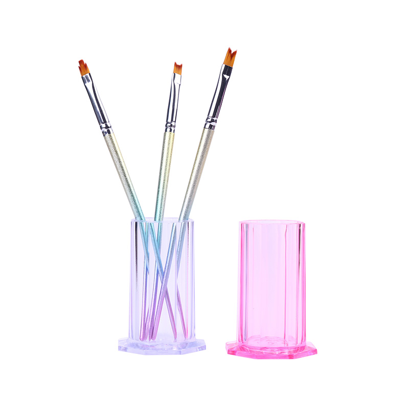 1 Pc Pink Clear Plastic Brush Storage Box Empty Container Makeup Pen Holder Case Cosmetic Pen Organizer Nail Art Tool