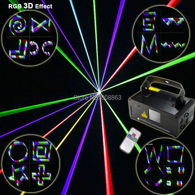 New RGB 400mW DMX Laser 3D Projector Lines Beam Effect Remote DJ Equipment Disco Party Xmas Stage Lighting Light System Show D80