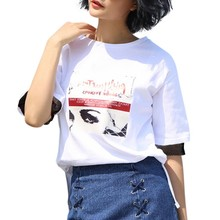 2017 Summer Fashion New Arrivals O-Neck Short black Grid Short Sleeve T-Shirts Loose Printed Soft Tops 1 Size 4 Colors