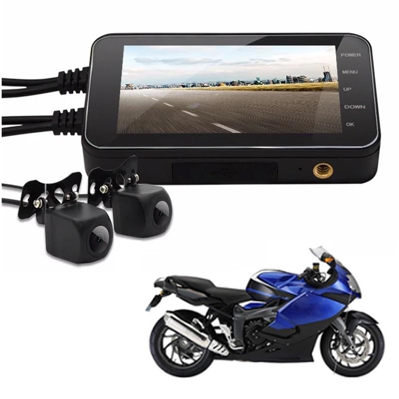 10 pièces gratuit DHL Moto accessoires Moto caméra enregistreur vidéo DVR avant vue arrière 4.0 pouces noir nuit Vision boîte étanche