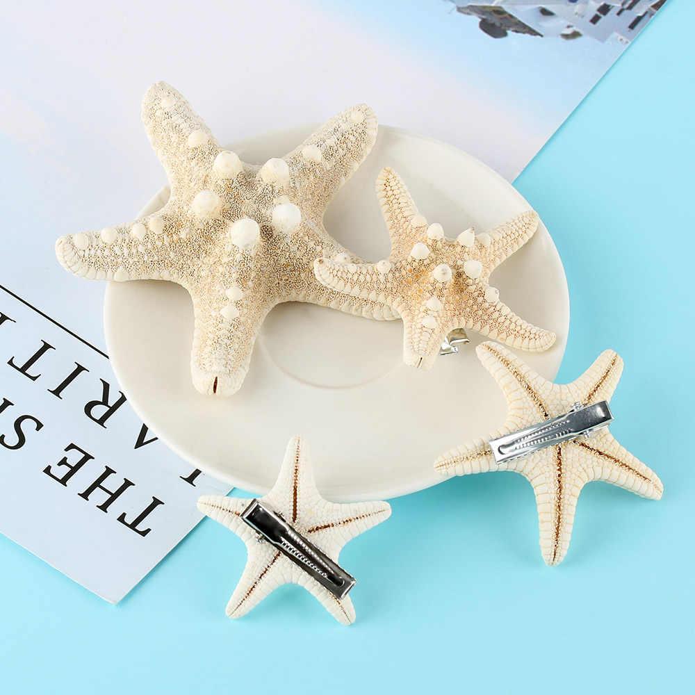 1/2 adet zarif denizyıldızı saç klipleri gelin el yapımı DIY deniz kabuğu firkete Mermaid şapkalar aksesuarları kadınlar yaz plaj takı