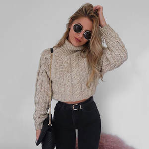 Short Sweater Pullover Autumn Women's Jumper Knitted Streetwear High-Collar Casual Solid