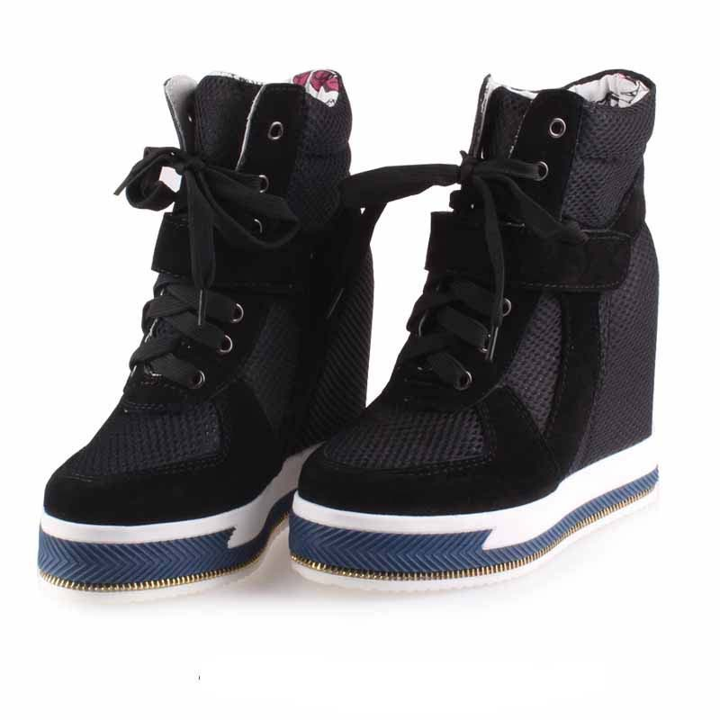 2017 new fashion hidden wedges height increasing 11 cm casual shoes lace up high top boots net mesh women breathable Comfortable chilenxas 2017 spring autumn comfortable casual shoes canvas men leather breathable new fashion height increasing lace up solid