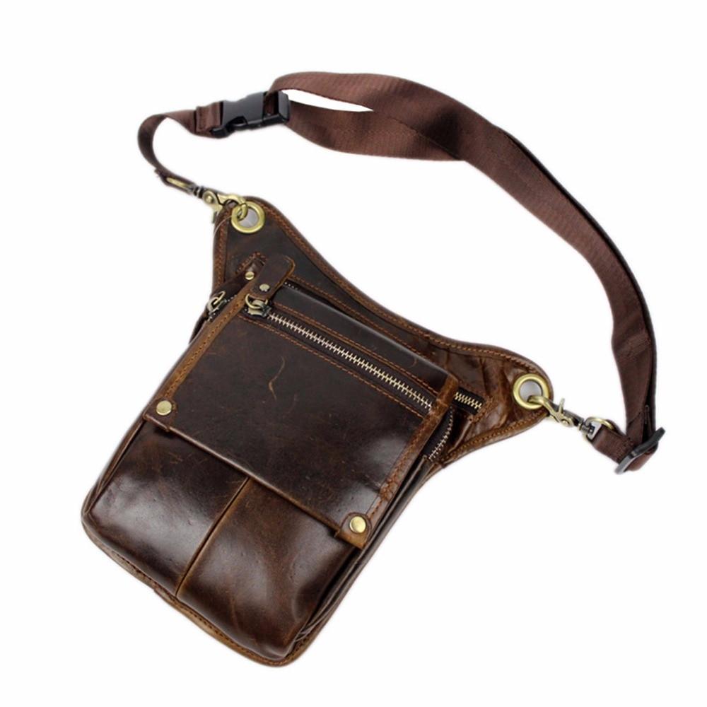 Mænds ægte læder drop ben taske cross body messenger skulder fanny - Bæltetasker - Foto 2