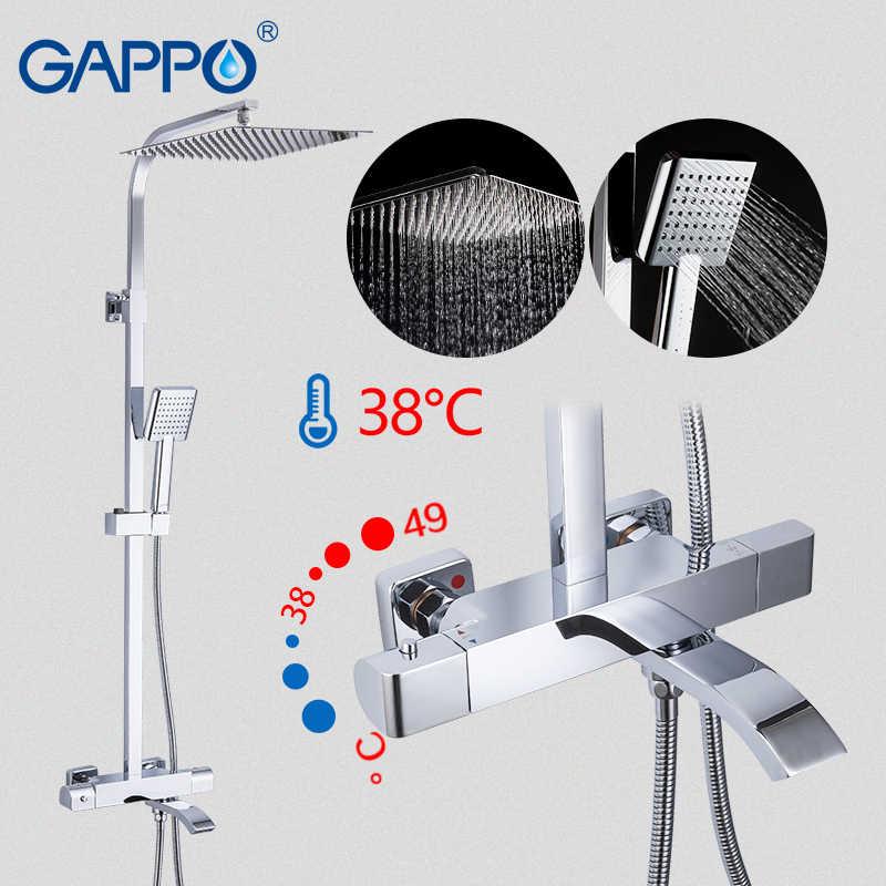 GAPPO サーモスタットシャワーシステムシャワーセット降雨蛇口ホットとコールド黒シャワーの蛇口バスタブサーモスタットシャワーミキサー