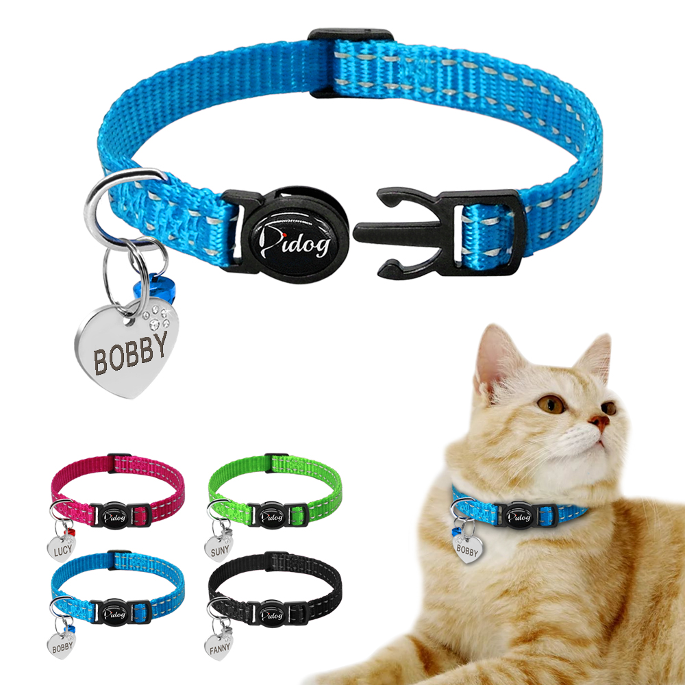 Quick Release Kitten Cat Collar Reflective Personalized Puppy Dog Id Collars Engraved With Bell Free Tag Nameplate For Small Pet