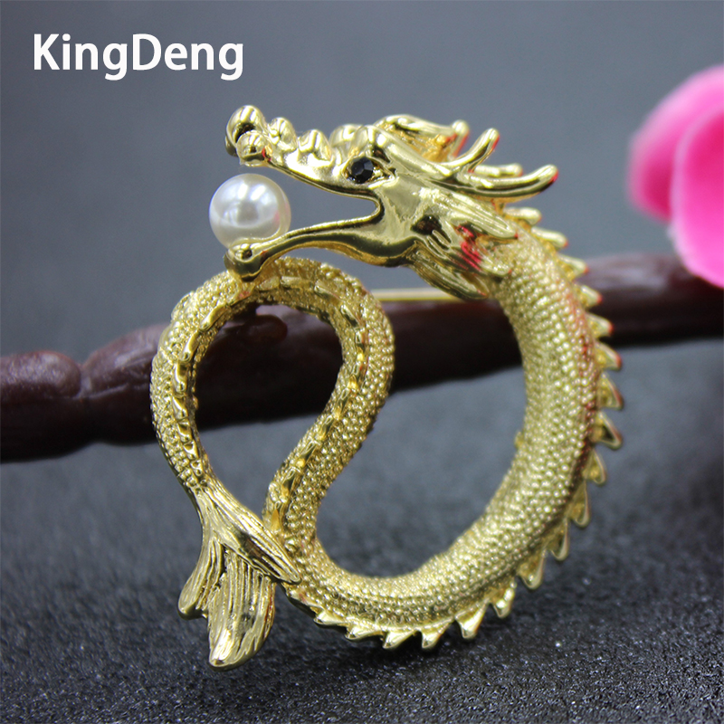 Golden Dragon Men Brooch Pearl Jewelry Shirt Suit Accessories  Lapel Pin Brooches Enamel Pins Party Decorations Gifts For Father carmine