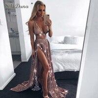 Self Duna 2018 Summer Gold Sequin Dress Sexy Club Dress Floor Length Hollow Out Spaghetti Strap Slip Women Long Party Dress