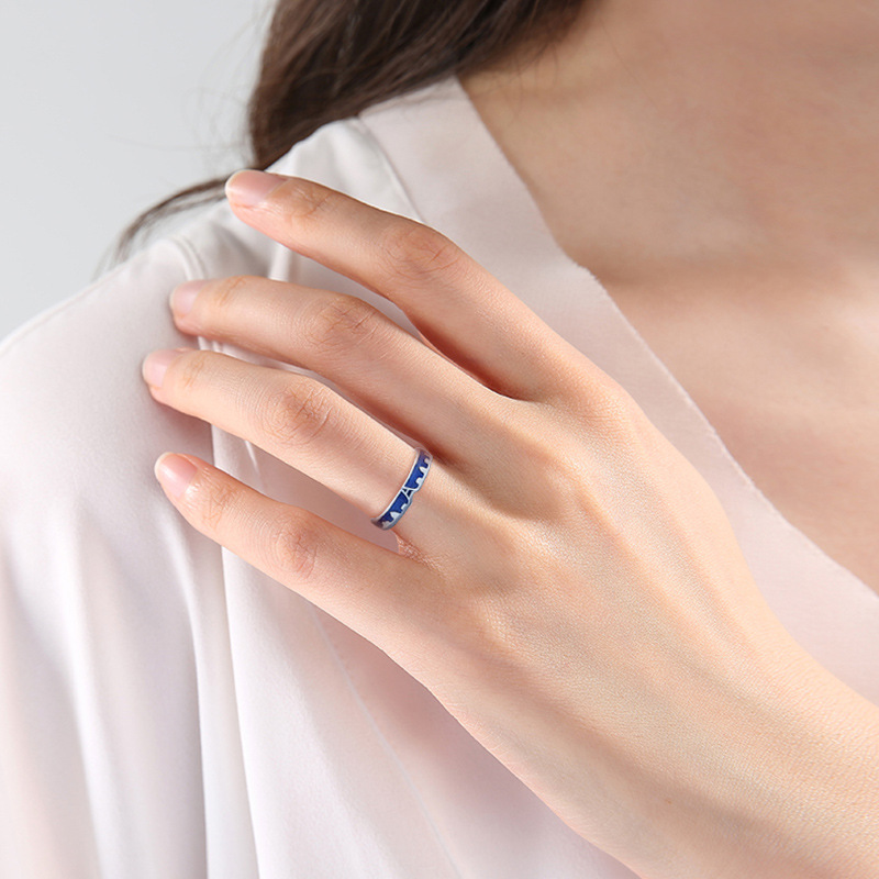 Flyleaf Blue Dripping Glazed Castle Open Lovers Rings For Women Men Romantic Valentine s Day Gift Flyleaf Blue Dripping Glazed Castle Open Lovers Rings For Women Men Romantic Valentine's Day Gift 925 Sterling Silver Jewelry