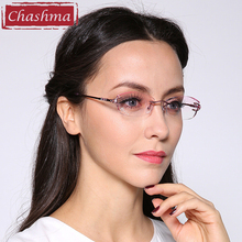 Chashma Brand Alloy Fashionable Lady Eyeglasses Rimless Spectacle Frames Women Colored Lenses Rhinestone Glasses