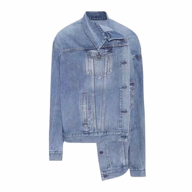 2018 Spring Kendall Jenner Streetwear Fashion Jeans Jacket Oblique Buckle Irregular Design Washed Denim Jacket Coat Female 1