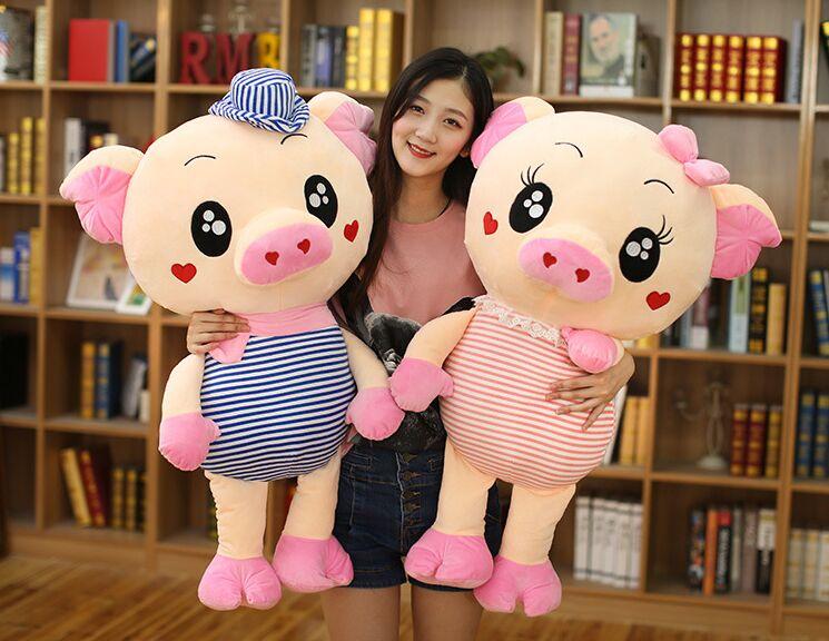 Peluche peluche grand 90 cm dessin animé amour cochon rayures créatives conception cochon doux poupée jeter oreiller cadeau de noël b1604