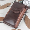 High Quality Cowhide Leather Men Fanny Waist Bag Cell Phone Pocket Coin Purse Crossbody Messenger Shoulder Hip Belt Hook Pack