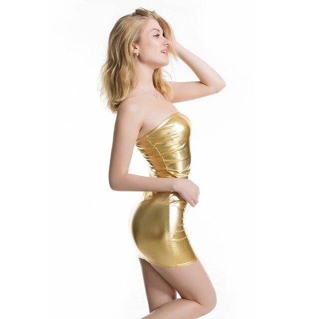 Women Sexy Off Shoulder Strapless Shiny Metallic Mini Dress Bodycon Clubwear Gothic Wetlook Stripper Tube Bandeau Dress 2