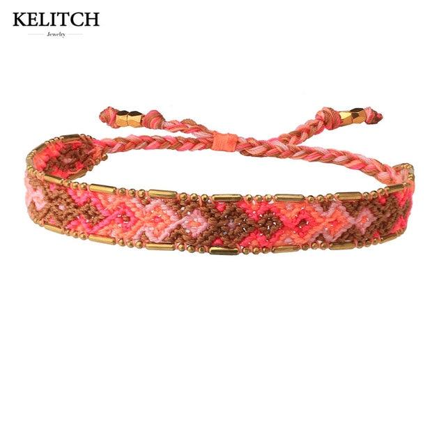 Kelitch Bracelets Jewelry Friendship Adjule Clasp Cotton Bracelet Woven String Handmade Bohemian Gifts