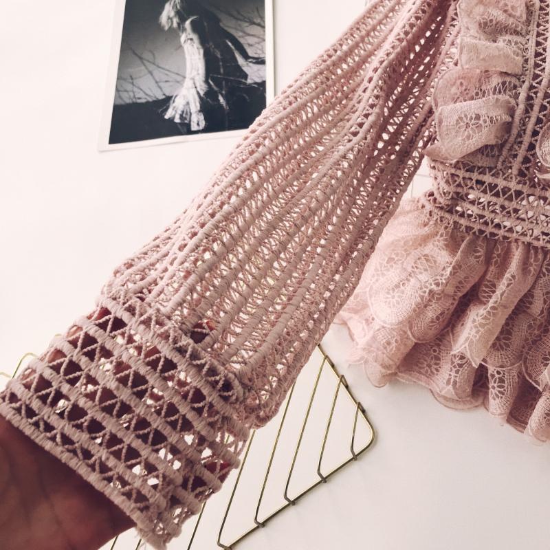 MUMUZI Elegant lace hollow out peplum blouse shirt women Ruffles long sleeve white blouse female Autumn winter tops office lady 5