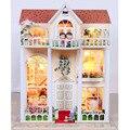 13823 Хонгда большой diy деревянный кукольный домик вилла кукольный дом голос СВЕТОДИОДНЫЕ фонари миниатюры для украшения игрушки девушки