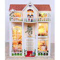 13823 Hongda large diy wooden dollhouse villa doll house voice LED lights miniatures for decoration toys girls