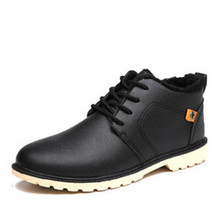 Winter new men's shoes casual shoes. Warm  for leather Work  Add down Martin  Snow boots