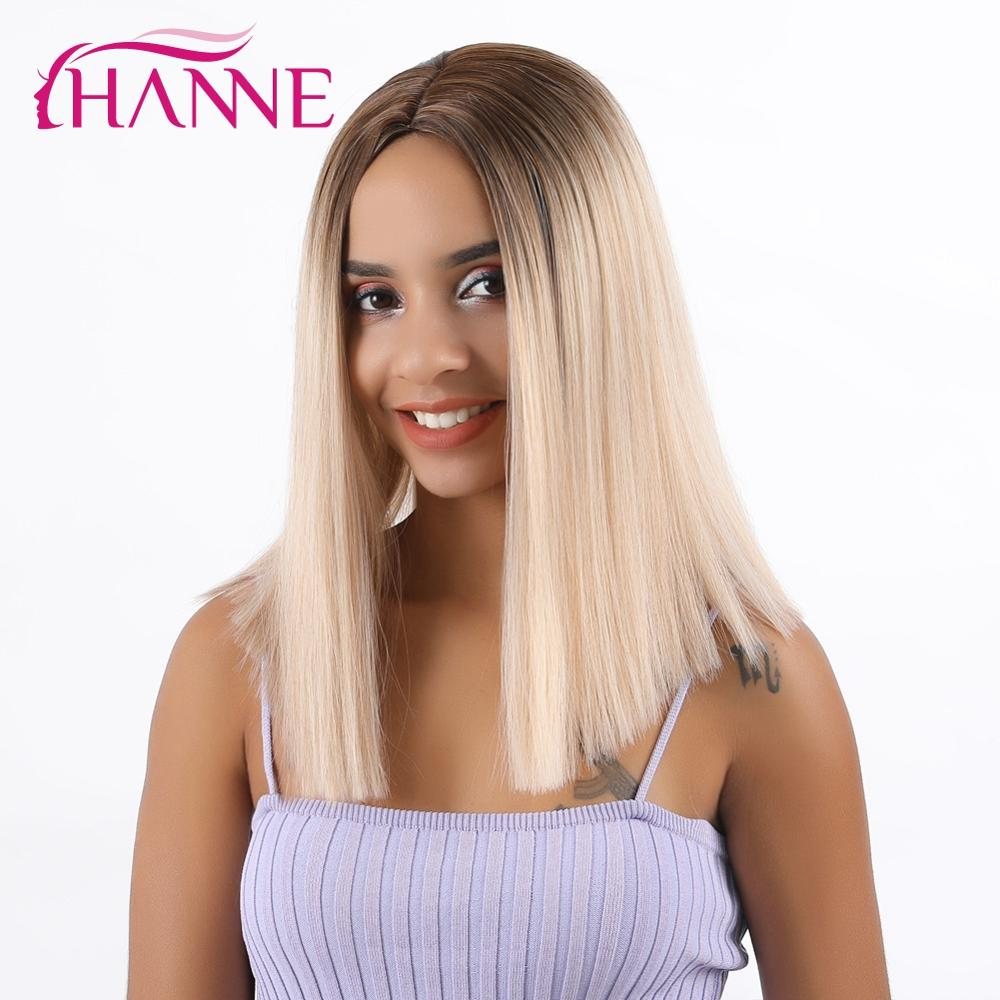 HANNE Synthetic Short Straight Wigs For Black Or White Women Ombre Brown/Blonde/Pink Middle Part Natural Hair