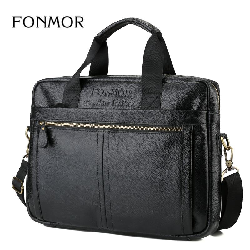 FONMOR Multifunction Genuine Leather Men Briefcase High Quality Casual Shoulder Messenger Bag Men Leather Business Handbag