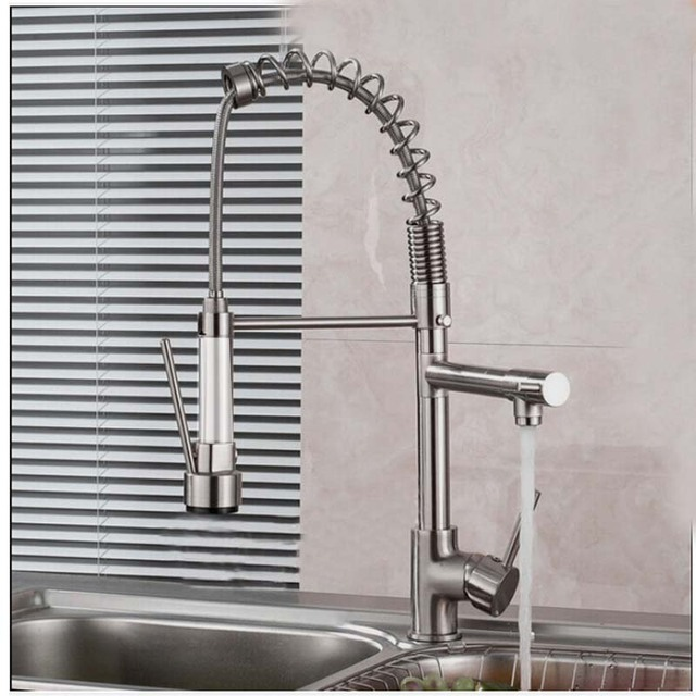 Luxury Brushed Nickel Kitchen Faucet Spring Vessel Sink Bar Mixer Tap  Single Handle Hole Dual Sprayer