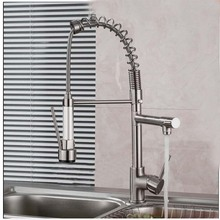 Luxury Brushed Nickel Kitchen Faucet Spring Vessel Sink Bar Mixer Tap Single Handle Hole Dual Sprayer Deck Mounted