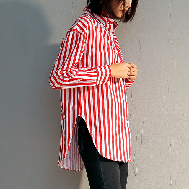 5f0a666f White and Red Vertical Striped Shirts Womens 2018 Casual Long Sleeve Turn-Down  Collar Tops With Pockets Ladies Cotton Blouse