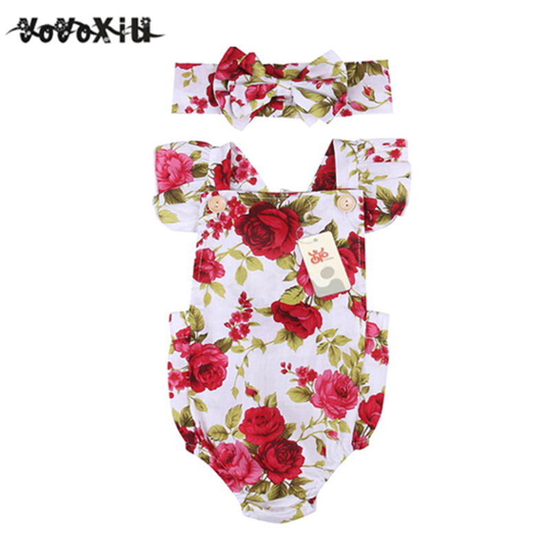 ABWE Best Sale 2018 New 0-24M Floral Baby Girl Clothes Summer Ruffles Halter Romper+Headband Outfit Toddler Kids Clothing Set