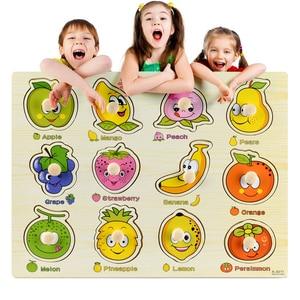 Image 2 - Rompecabezas de madera Montessori para bebé, tablas de agarre manual, Tangram de juguete, rompecabezas para bebé, juguetes educativos dibujo animado, vehículo, animales, frutas, 3D