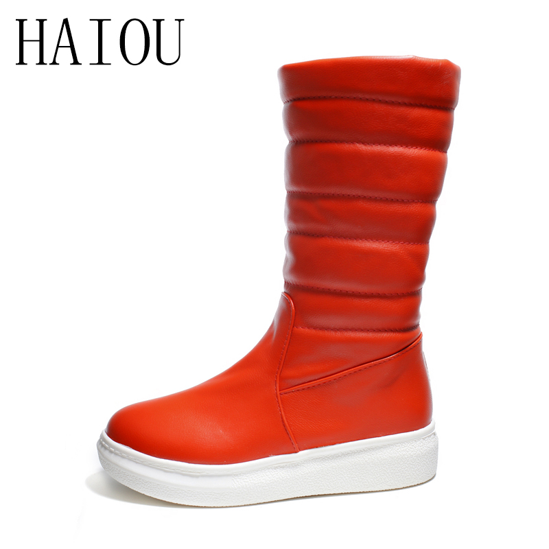 New Female Winter Boots Flats Mid Calf Snow Boots Women New Arrival Keep Warm Winter White Boots for Women Wedges Shoes Slip On mid calf women boots black white brown big size 34 43 new winter mid calf women boots black white brown for choice flats shoes