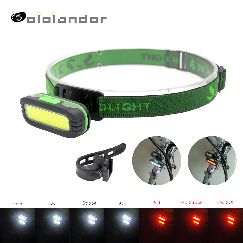 SOLOLANDOR 2 In 1 Bicycle Light Flashlight 7 Modes Red Light With Bike Clamp&Lamp Bracket LED COB Headlamp Forehead For Biking