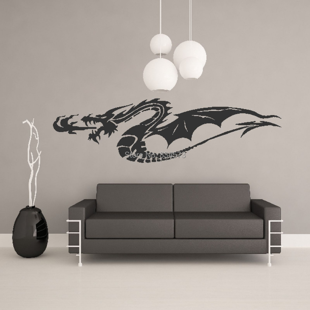 popular chinese wall stickers dragon buy cheap chinese wall chinese fire dragon animal wall art stickers wall decal home diy decoration wall mural removable bedroom