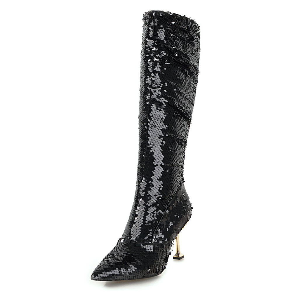 Nasipal Autumn Winter Thin High Heels Sexy Knee High Boots Gold Silver  Knight Boots Glitter Bling Bling Women Nightclub Boots e0f611f3b30c