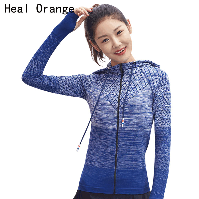HEILEN ORANGE Frauen Sport Top Laufjacke Frau Track Jacket Yoga Langarm-shirt Yoga Shirt Atmungs Gym Fitness Kleidung
