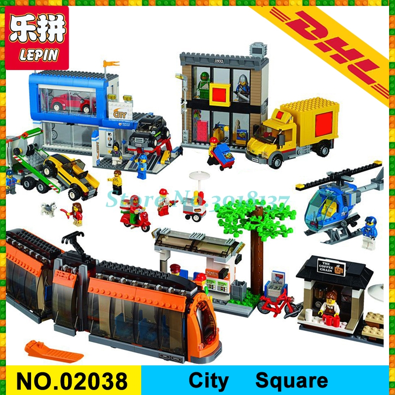 IN Stock DHL 1767 PCS LEPIN 02038 City Series City Town City Square Set Model Building Kits Blocks Bricks Toy 60097 lepin 1767 city town city square building blocks sets brick kid model kids toys for children marvel compatible bela diy gift toy