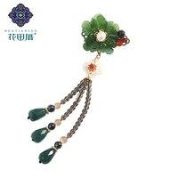 Ethnic Handmake Lampwork Flower Brooches Removable Tassel for Women Pearl Green Water Drop Jad e Tassel Brooch Women XZ 18113