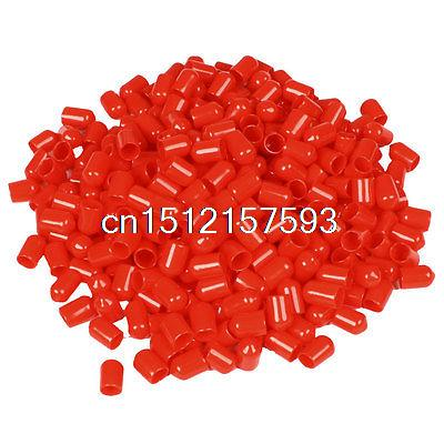 350 Pcs 14mm Height 8mm Inner Dia Round Tip Red PVC Insulated End Caps