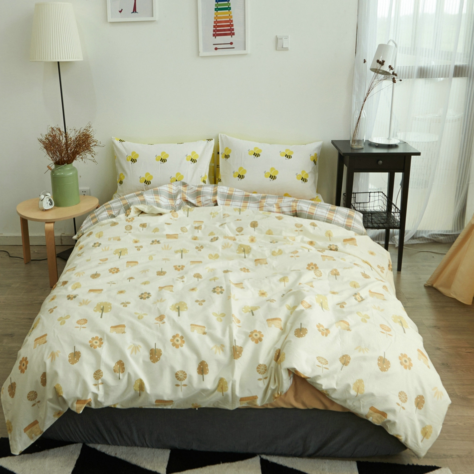 online get cheap bright colored bedspreads aliexpresscom  - floral duvet cover bee pillowcases soft bedspread cotton bedding set brightcolor cool golden autumn single
