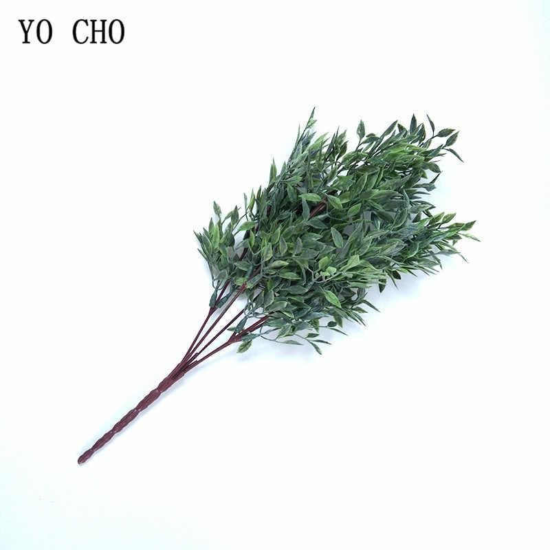 YO CHO ประดิษฐ์ดอกไม้ 5 ส้อม 33 ซม.พลาสติกสีเขียวใบหญ้าพืชสำหรับ Garden งานแต่งงานตกแต่งจำลองพืช