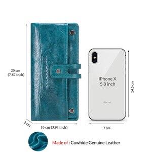 Image 5 - Portafoglio moda da donna portafoglio donna in vera pelle portafoglio lungo Design portamonete porta carte tasca per telefono alta qualità da donna