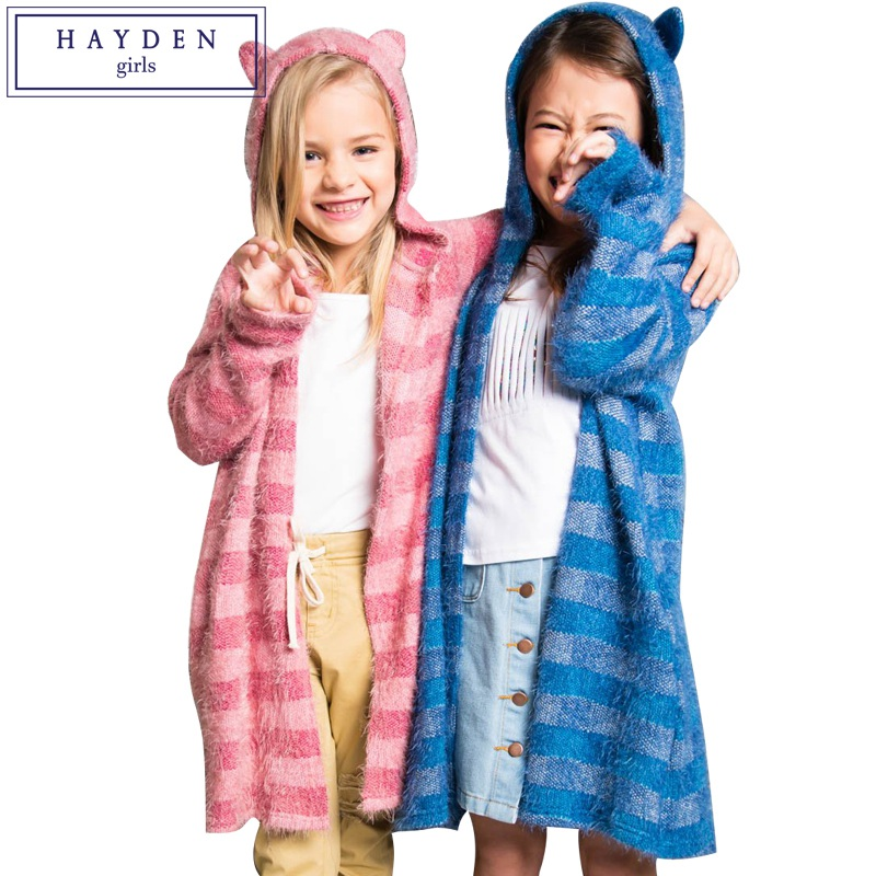 HAYDEN Girls Fuzzy Kitty Cardigan 2018 Spring Fall Long Sweater Cardigan Girl Kids Hooded Striped Mohair Cardigans for Teenagers лосьон framesi densifying drops