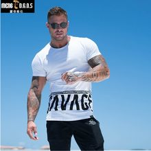 men Summer style Fashion personality t Shirt Muscle male Leisure gyms Short sleeves Slim fit Tee tops clothing(China)