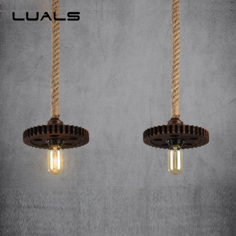 Loft Pendant Lamp Retro Edison Bulb Light Fixture Creative Gear Industrial Style Pendant Lighting For Bar Cafe Pendant Lights 2 pcs loft retro light rusty color hanging lamp cafe bar pendant lights creative edison lamps industrial style pendant lighting