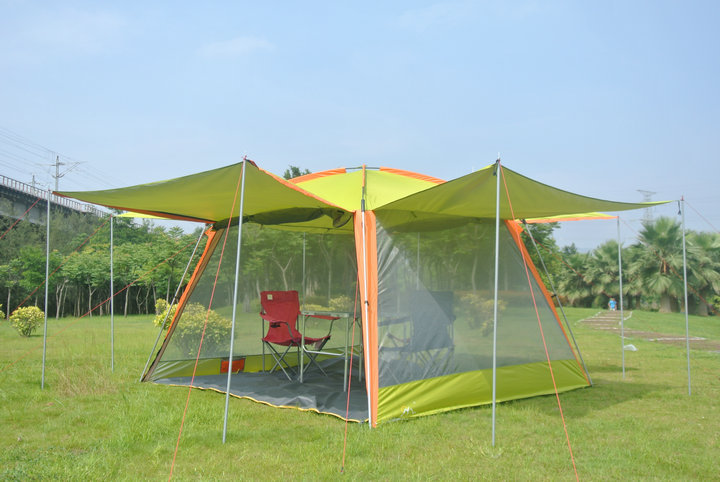 New arrive!High quality oxford sunshleter canopy tent beach tent fishing tent barbecue pergola/Sunshade beach awnig tent outdoor double layer 10 14 persons camping holiday arbor tent sun canopy canopy tent