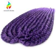 Элегантный Муз 12 дюймов и 24 inch Ombre Цвета Мамбо твист вязанная косами 1B/purple синтетического Волокно Наращивание волос плетением