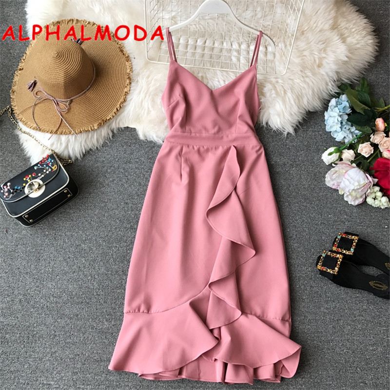 Alphalmoda 2019 Summer Women Padded Tank Dress Single Breasted Middle Slit Ladies High Waist Step Dress Vocational Casual Dress Women's Clothing