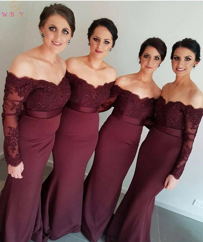 Bridesmaid Dresses 2019 Burgundy Sexy Mermaid Sweetheart Full Sleeve Sweep Train With Appliques Tulle Off Shoulder Party Gown