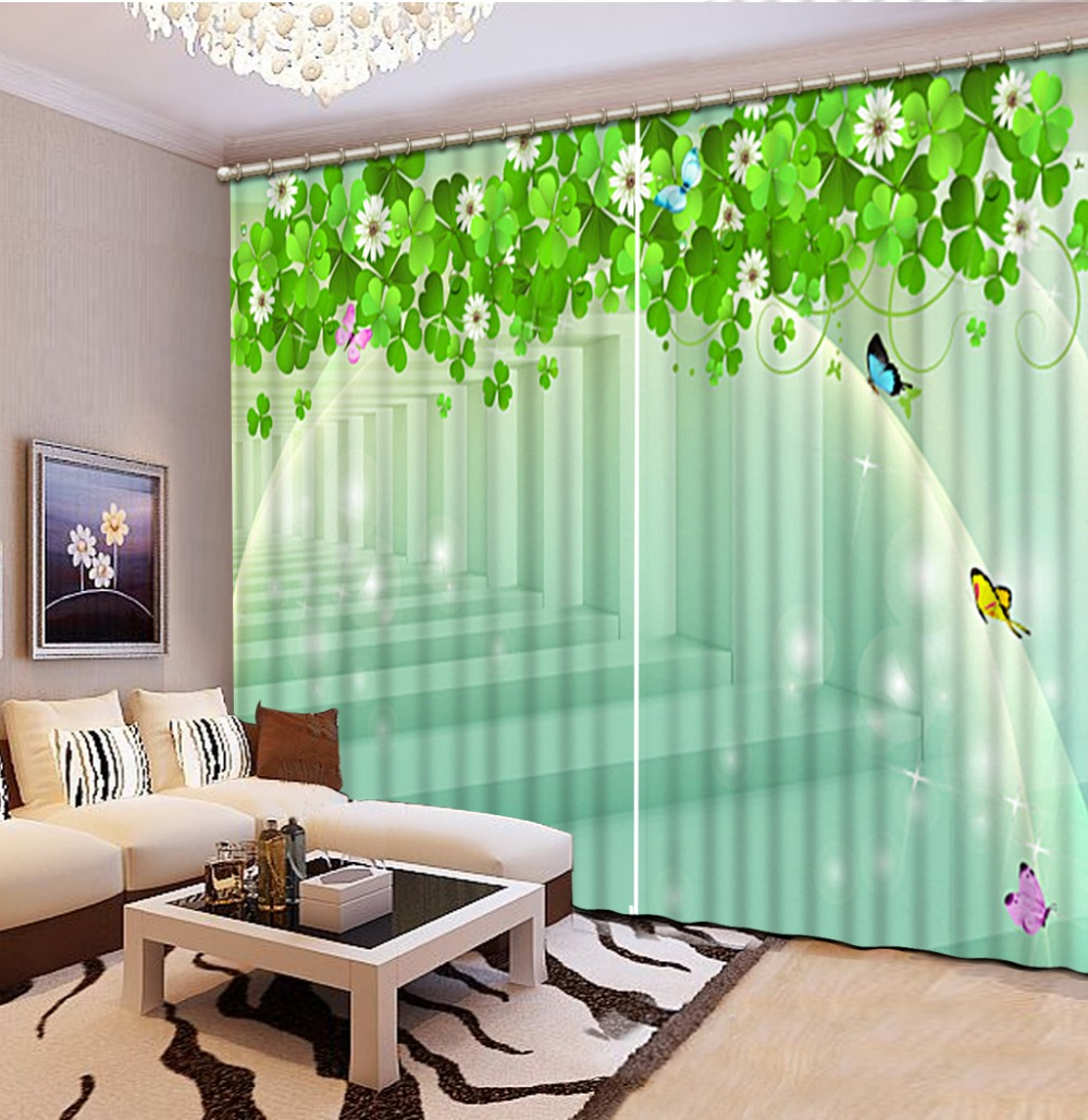 Photo Customize Size Green Stereoscopic Space Custom Curtain Fashion Decor Home Decoration For Bedroom Living Room